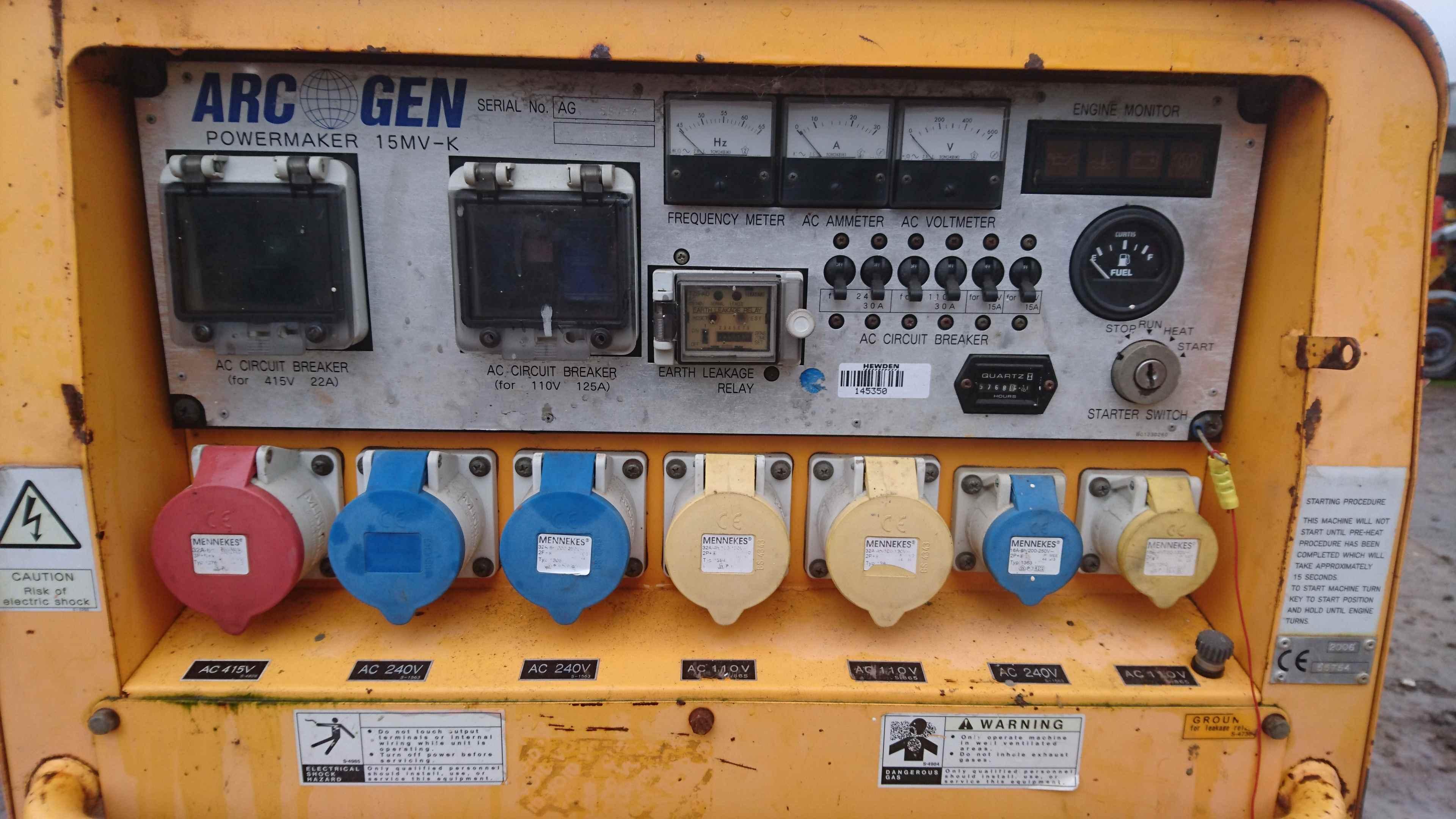 Arc Gen Powermaker 15MV K Diesel Generator 15Kva 3 Phase 240v and